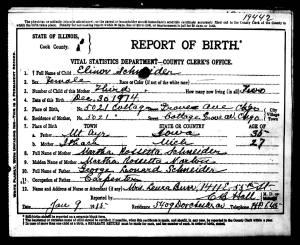 CC image Elinor Schneider Birth Record by AnnieCatBlue on Flickr
